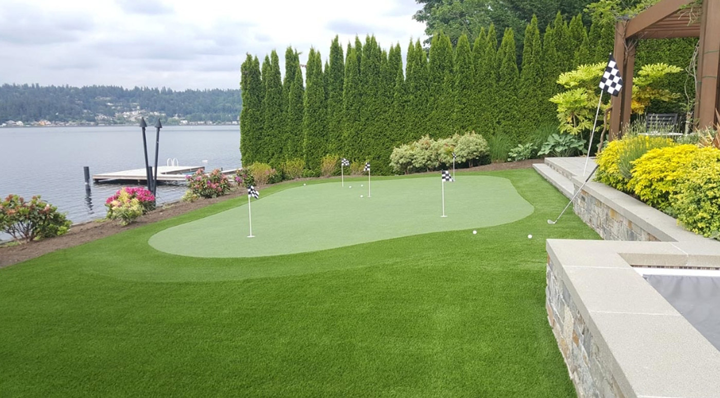 Installed golf putting green on Fraser River BC Canada
